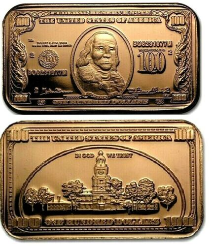 Benjamin Franklin $100 Bank Note 1oz Pure Copper Bullion Bar!!