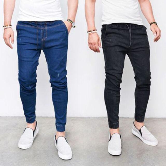 Men's Stretchy Ripped Skinny Biker Jeans Straight Destroyed Fitness Denim Pants