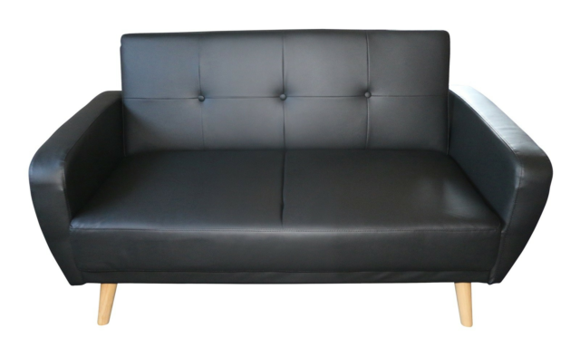 Sofa, læderlook, 2 pers. , NEW YORK, Flot sovesofa i sort…