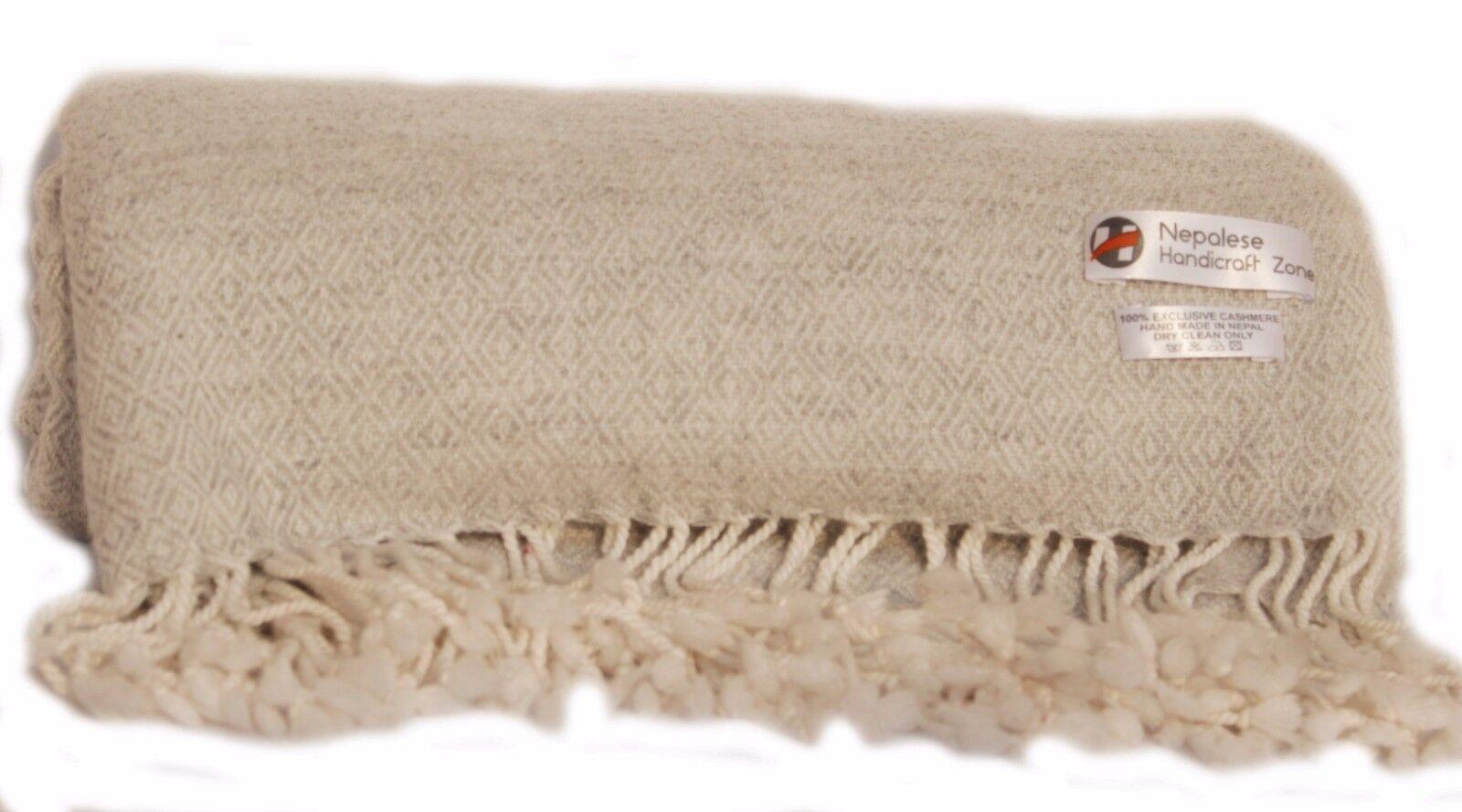 100% Natural Cashmere Blanket, Himalayan Pashmina Throw, Hand Made in Nepal