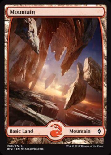 NM mtg Battle for Zendikar Red Land C *FOIL* FULL ART MOUNTAIN Com