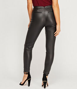 SIZE 8 TO 22 BLACK FAUX LEATHER LOOK COATED HIGH WAIST SKINNY TROUSERS JEANS