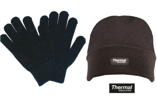 Mens Knitted Winter Thermal Cable Knit Design Hat /& Gripper Glove Combo
