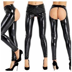 c1e582e7c10c8 Women Sexy/Sissy Wet Look PVC Leather Leggings Trousers Slim Fit ...