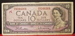CANADA-10-dollars-1954-Beattie-Rasminsky-Prefix-O-V