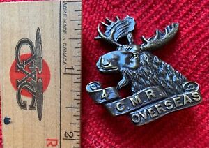 """WWI Great War Canada CEF Cap Badge 4th Canadian Mounted Rifles """"CMR"""" Variant"""