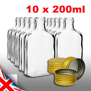10 x pocket flask bottles 200ml - Gold screw caps for wine whisky or spirits