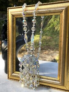 Stunning Topaz Blue Clear Aurora Borealis Crystal Cluster Necklace