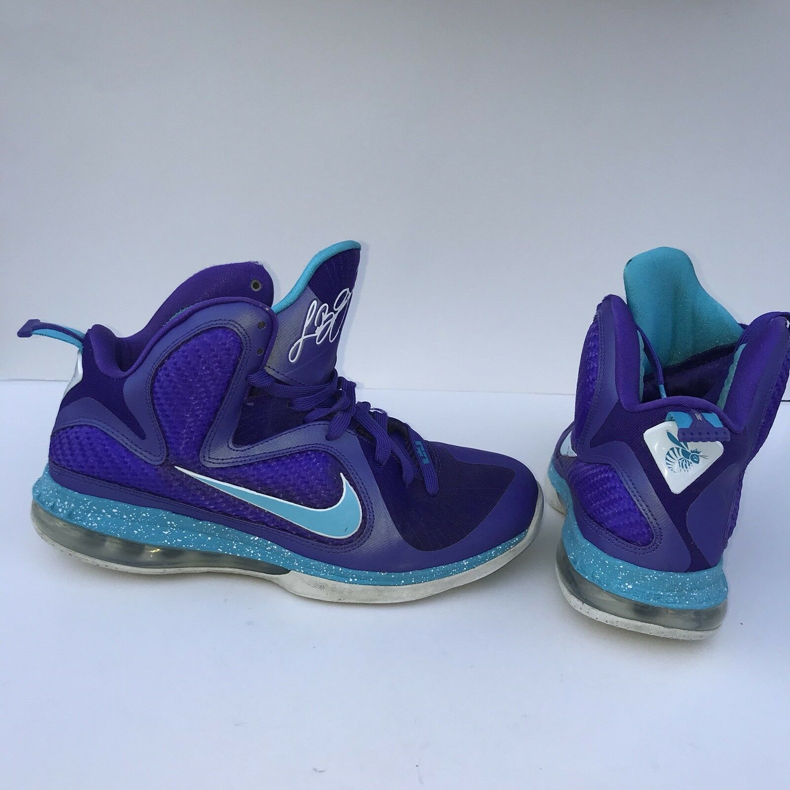 Nike Lebron 9 Summit Lake Hornets Men's Size 9 Purple Basketball Shoes IX