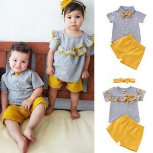 9babe463a61e Toddler Kids Baby Boy Girl Matching Clothes T-shirt Tops+Short Pants ...