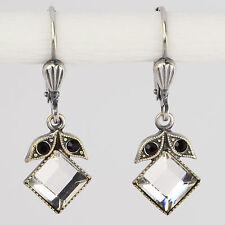 Ohrring Ohrhänger Silber Swarovski Kristall Carée – Vintage retro – Crystal klar