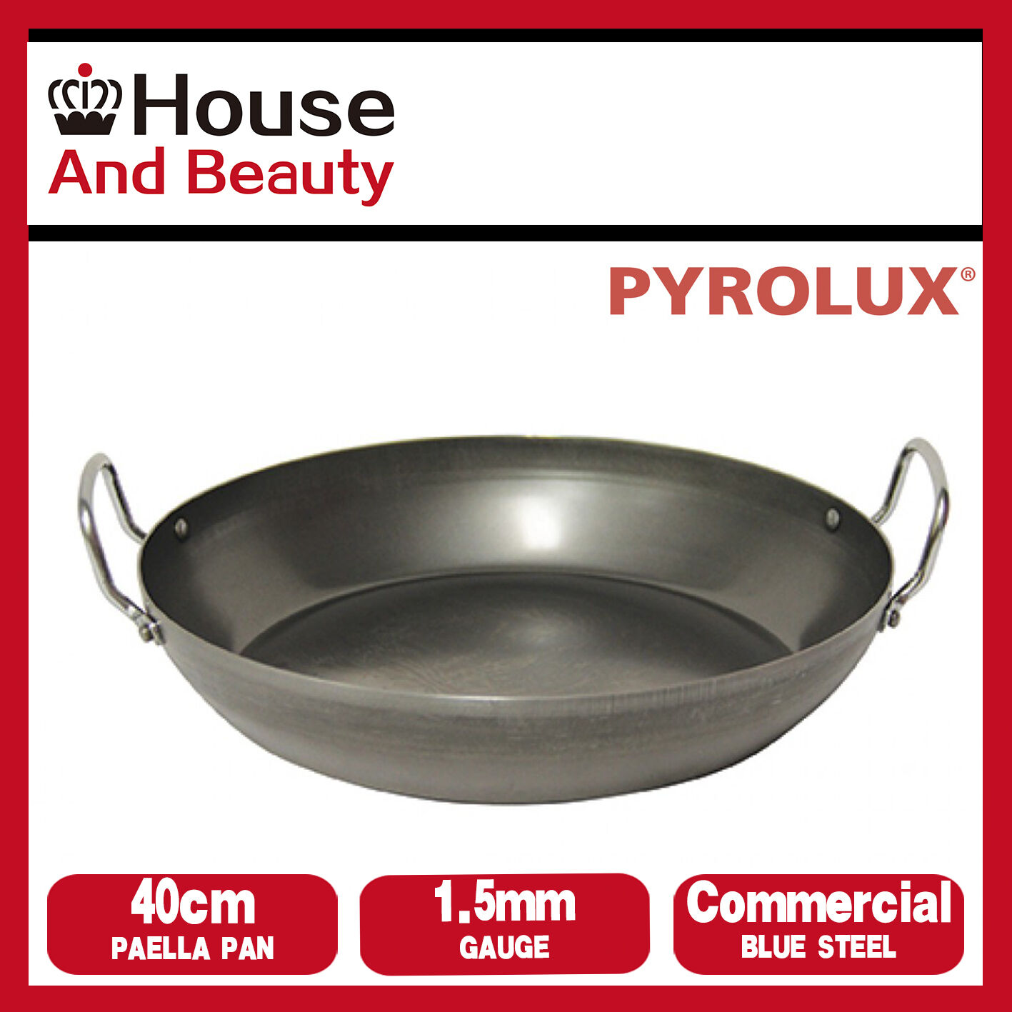 NEW Pyrolux Industry bluee Steel 1.5mm Gauge Commercial Quality 40cm Paella Pan