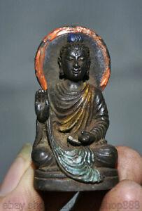5CM-Vieux-Tibet-Bronze-Peinture-Bouddhisme-Shakyamuni-Amitabha-Bouddha-Statue