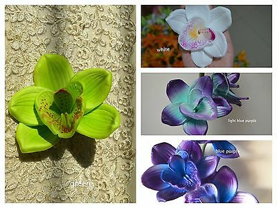 Blue Purple Orchid Blooms Cake Toppers Real Touch Flower Heads