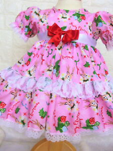 DREAM 0-3 years PINK REINDEER XMAS FRILLY  LINED NETTED DRESS  0r REBORN DOLLS