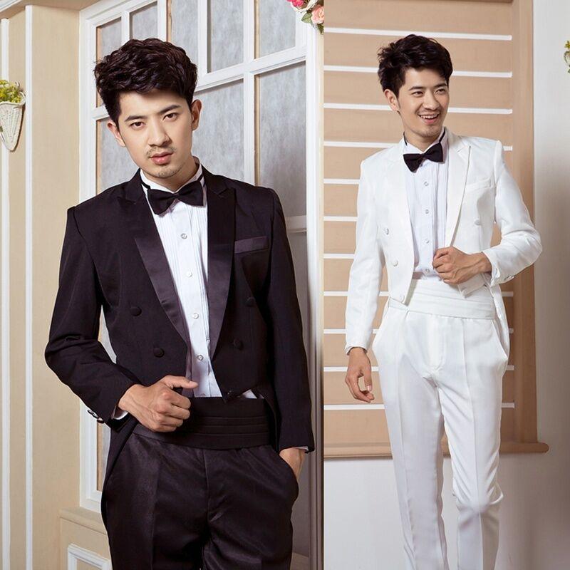 Peak Lapel Men Tailcoat Suit and Trousers Set Formal Groomsman Wedding Tuxedo