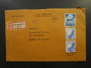 Germany-1936-Registered-Airmail-Cover-to-USA-Great-Back-Wax-Seals-Z5882