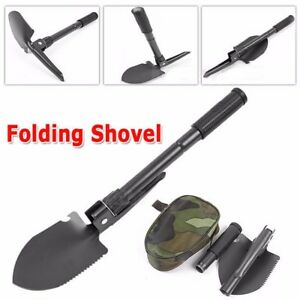 Portable-Multi-Purpose-Folding-Survival-Shovel-Collapsible-Pouch-Clears-Snow-New