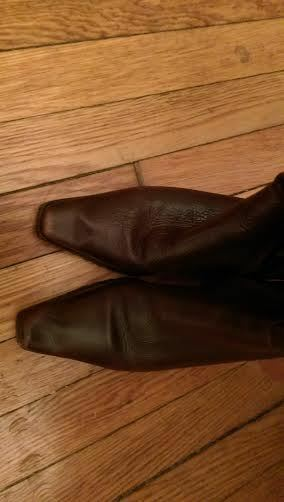 Leather boots tall Sz. 7M 7M 7M  low heel  Brown 208140