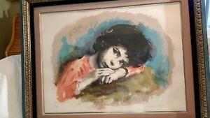 "Sandu Liberman  ""Resting Child"" Signed Lithograph Framed Beautifully"