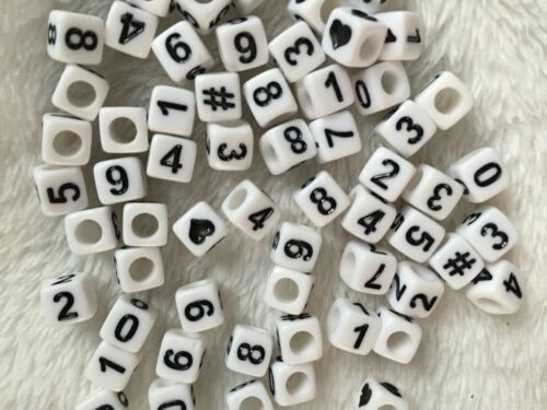 500pcs 6mm Cubo Acrílico Blanco Con Negro number//alphabet Beads