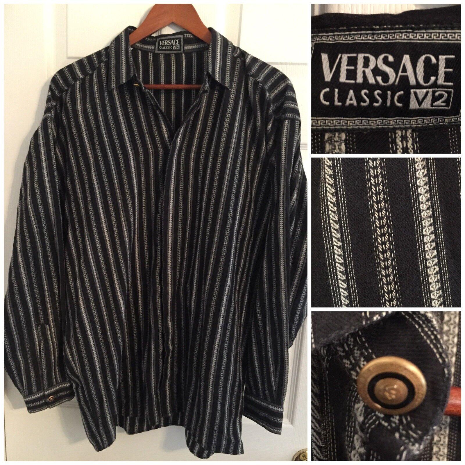VERSACE CLASSIC V2 Black Button Front Shirt Logo Buttons MEDIUM 100% Cotton