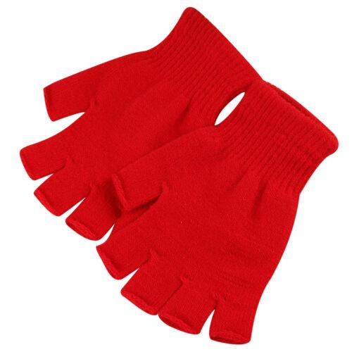 1 Pair Women Men Winter Warmer Thin Fingerless Elastic Knitted Gloves Mittens UK