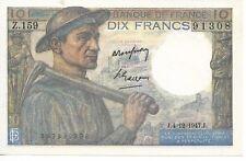 Billet de 10 Francs Mineur type 1941-1947 J SPL
