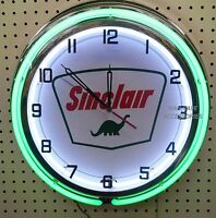 18 Sinclair Dino Gas Station Sign Double Neon Clock