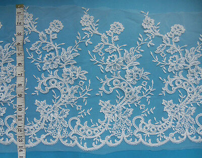 "14"" Bridal Wedding Off-White Embroidered Cord Flower Alencon Lace-1.6 Yards-T648"
