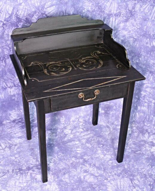 English 1920 Antique Black Painted Desk Table Secretary Console Server End Side
