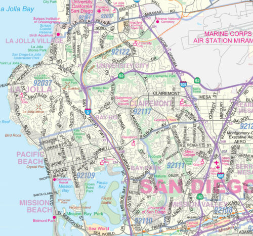 Greater San Diego Detailed Region Wall Map w//Zip Codes 3 Sizes Paper
