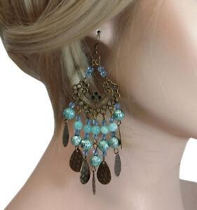 Pierced-Earrings-Statement-Filigree-Blue-Gold-Tone-4-1-4-034-Shoulder-Duster