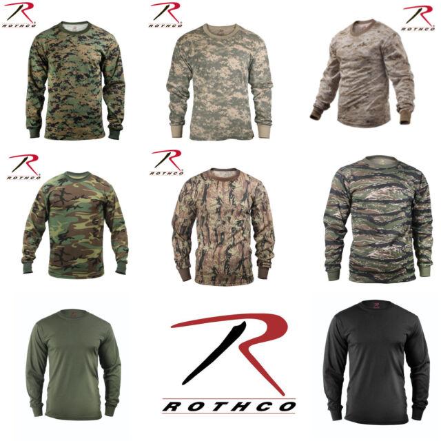Rothco Military Tactical Hunting Long Sleeve Camo T-Shirts Tagless Label