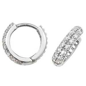 c3ff7451634ab Details about 9ct White Gold 12MM Cubic Zirconia Hinged Hoop Earrings