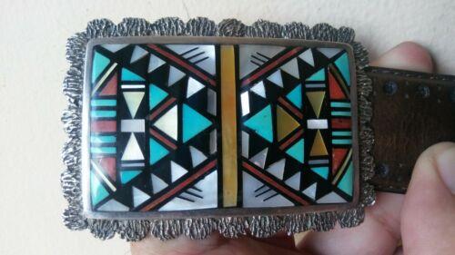 Native Graphics Southwestern Belt Buckle Mexico Southwestern Native American Design Inlay Belt Buckle Turquoise Silver Copper Malachite