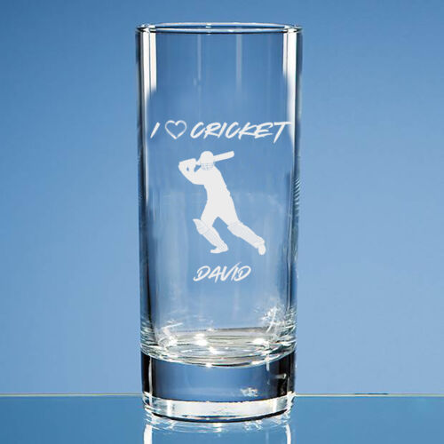 Personalised Cricket Glass Cricket Lover Gift Cricket Gift for Him Sport Gift