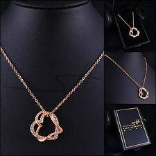 Geschenk: Kette Halskette *Herz um Herz*, Rosegold pl., Swarovski Elements +Etui