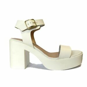9beb6d223b3 Image is loading Ladies-Women-White-Platform-Chunky-Block-Heels-Shoes-
