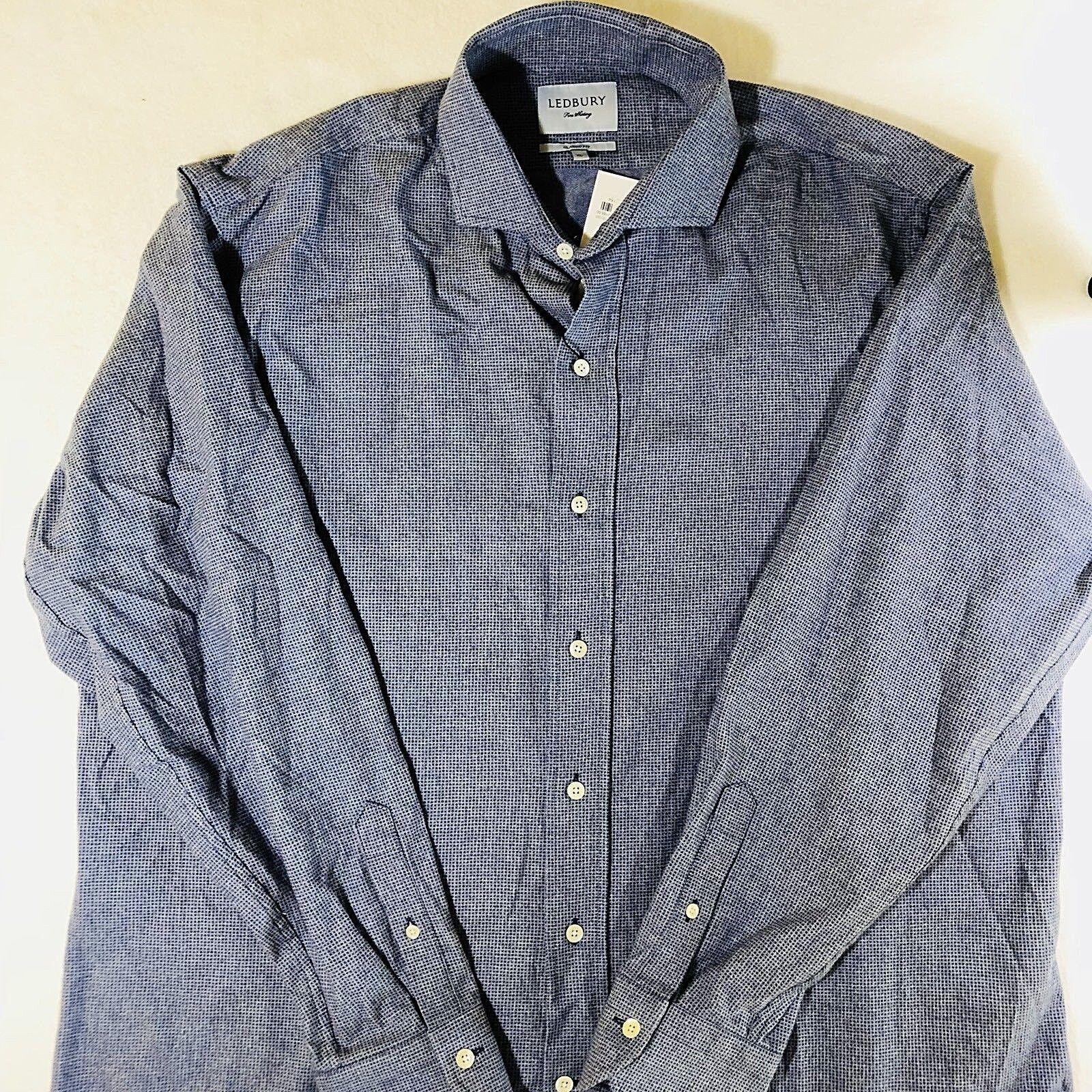 Ledbury Harrisburg Print Men's Button Down 100% Cotton Long Sleeve Shirt Sz XL