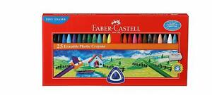 Tin of 12 Erasable Plastic Crayons 110mm FABER CASTELL Assorted Colours