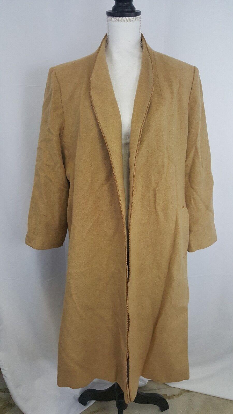 Vintage Flewrette of California 100% Camel Hair Lined Full Length Trench Coat M