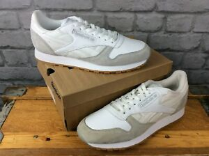 REEBOK-MENS-UK-9-EUR-43-WHITE-AND-GREY-CLASSIC-TRAINERS-ORIGINALS-SPRING