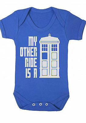 BABY BOY,GIRL,Doctor Who My other ride is a tardis VEST,BABYGROW,ROMPER,Bodysuit