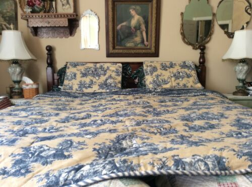 Waverly Tan & Blue Toile Queen 3 Piece Comforter Bed Set Reversible