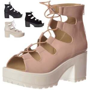 0c20114fbb56 Ladies Girls Lace Up Cleated Sole Block Heel Sandals Shoes Nude ...