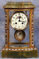 French Cloisonne Champleve Bronze Green Onyx Crystal Regulator Clock 19 Century