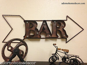 Image Is Loading Lighted Marquee Rustic Metal Bar Sign Wall Decor