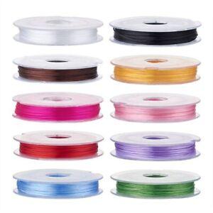 Bobine-de-fil-Nylon-Elastique-0-8mm-Couleur-au-Choix-environ-10m-creation-bijoux