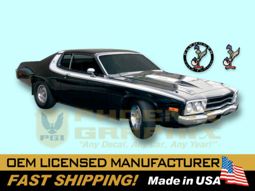 1973 Road Runner Strobe Side Roof Hood Stripes #s Birds Graphic Decals COMPLETE!